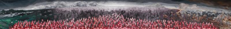 《安放灵魂的原乡,没有天空的城市,炼狱般的景观》200×1600cm 布面油画 2015.jpg