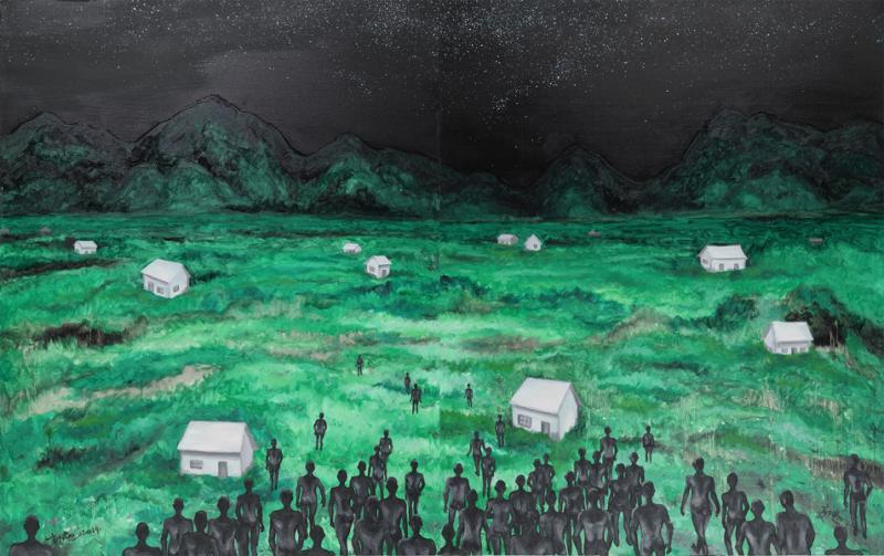 《安放灵魂的原乡》152×244cm 布面油画 2014.jpg