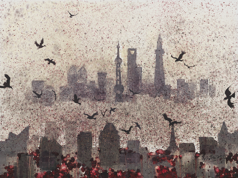《没有天空的城市9号》91×122cm 布面油画 2014.jpg