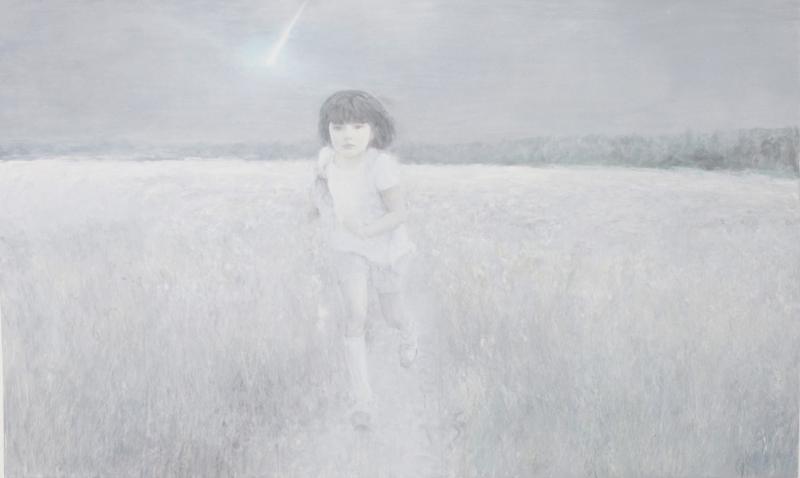 何多苓 在梦中奔跑的女孩 160×300cm 布面油画 2011.JPG