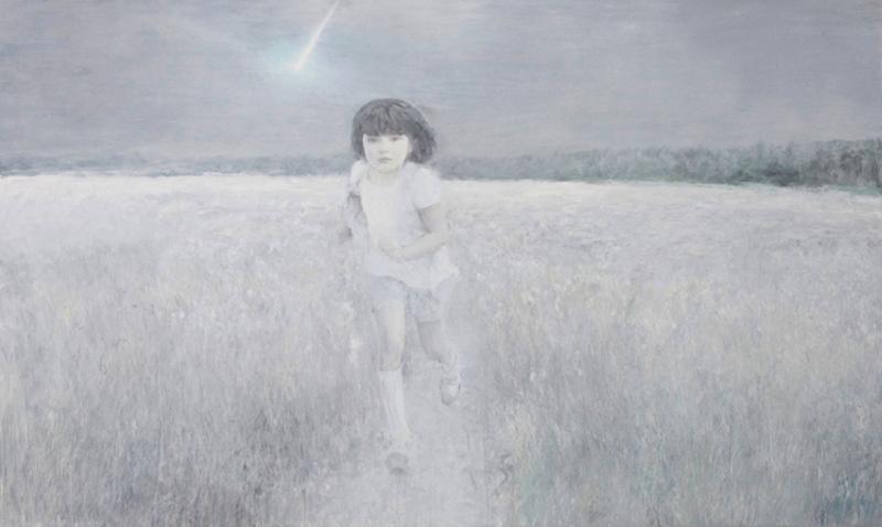 何多苓 在梦中奔跑的女孩 160×300cm 布面油画 2011副本