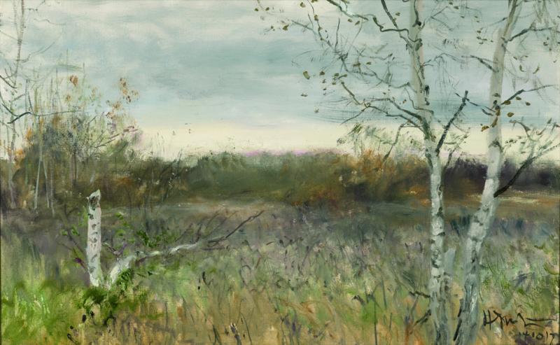 4-2 何多苓《俄罗斯森林》50×80cm 布面油画 2014深秋 诺夫哥诺德