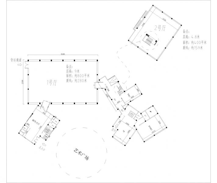 蓝顶美术馆新馆平面结构图Configuration Diagram of Blue Roof Museum(New Hall)